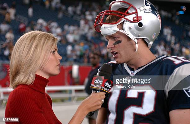 ABC Monday Night Football sideline commentator Melissa Stark interviews quarterback Tom Brady of the New England Patriots after the game between the...