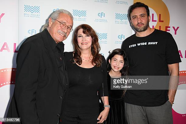 'Monday Nights at Seven' actors Edward James Olmos Mary Apick Kelea Skelton and director Marty Sader pose for photos on the red carpet at Cinearts @...