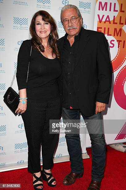 'Monday Nights at Seven' actors Mary Apick and Edward James Olmos pose for photos on the red carpet at Cinearts @ Sequoia on October 8 2016 in Mill...