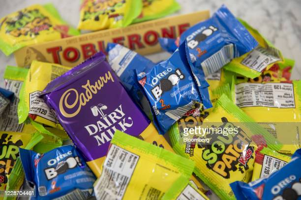 Mondelez International Inc. Brand Halloween candy including Sour Patch Kids, Oreos, and Cadbury chocolate, is displayed for a photograph in Tiskilwa,...