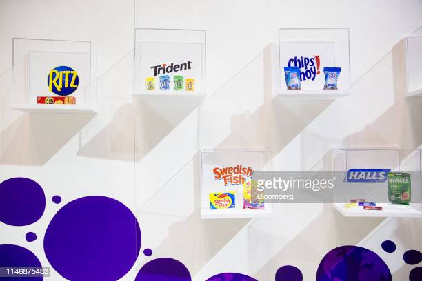 Mondelez International Inc brand Ritz crackers Trident gum Chips Ahoy cookies Swedish Fish candy and Halls cough drops are displayed at the Sweets...