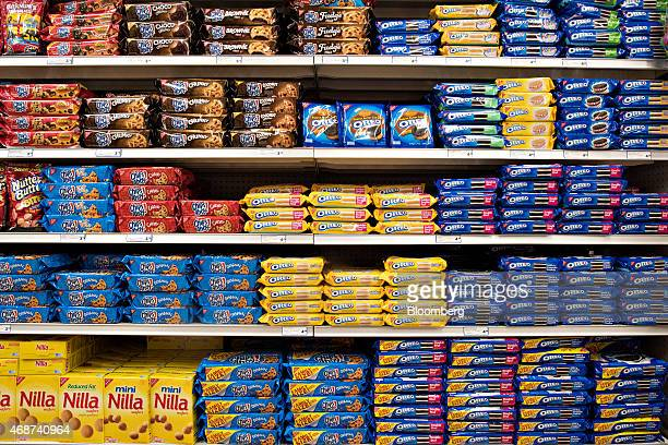 Mondelez International Inc cookie products including Oreo Chips Ahoy and Nilla brands sit on a supermarket shelf in Princeton Illinois US on...