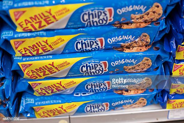 Mondelez International Inc Nabisco Chips Ahoy brand cookies sit on a supermarket shelf in Princeton Illinois US on Wednesday April 1 2015 The looming...