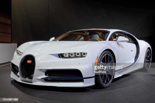 Mondial Paris Motor Show 2018 Bugatti Chiron 16 cylinders 8L 4 turbochargers 1500HP is seen during the Paris Motor Show at the Parc des Expositions...