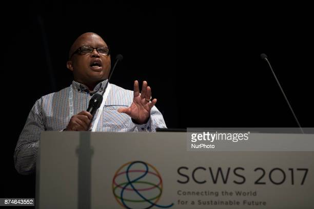 Mondli Mnguni President SAASTEC South Africa speaks during the Science Centre World Summit 2017 is a global meeting convened once every three years...
