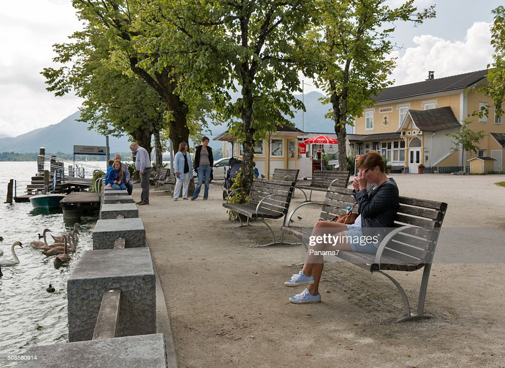 Mondsee town lake shore in Austrian Alps : Stock Photo