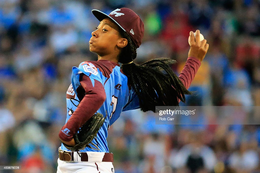 Mo'ne Davis #3 of Pennsylvania pitches to a Nevada batter during the first inning of the United States division game at the Little League World Series tournament at Lamade Stadium on August 20, 2014 in South Williamsport, Pennsylvania.