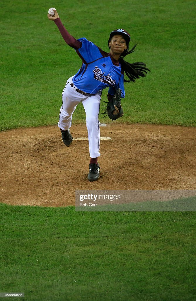 Mo'ne Davis #3 of Pennsylvania pitches to a Nevada batter during the United States division game at the Little League World Series tournament at Lamade Stadium on August 20, 2014 in South Williamsport, Pennsylvania.