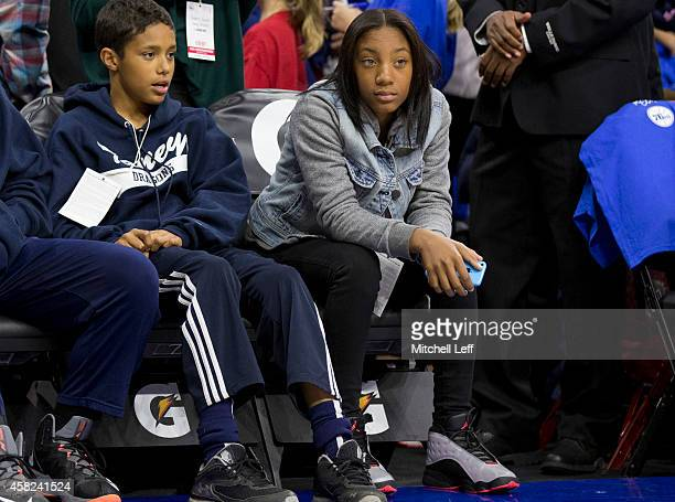 Mo'ne Davis of the Taney Dragons watches the Philadelphia 76ers warm up prior to the game against the Miami Heat on November 1, 2014 at the Wells...