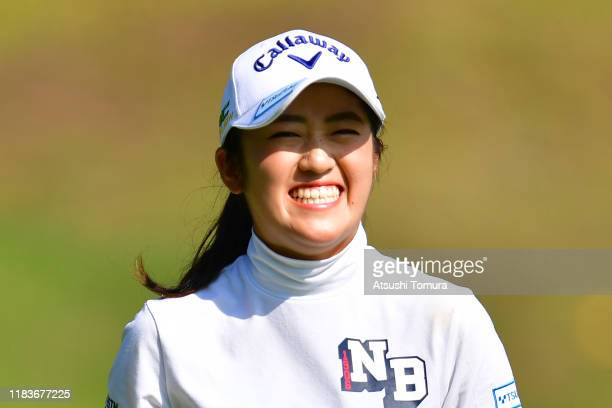 Mone Inami of Japan celebrates the birdie on the 3rd green during the final round of the Nobuta Group Masters GC Ladies at Masters Golf Club on...