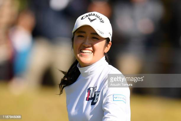 Mone Inami of Japan celebrates the birdie on the 8th green during the second round of the ItoEn Ladies at Great Island Club on November 16 2019 in...