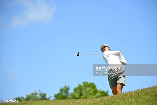Mone Inami of Japan hits her second shot on the 16th hole during the final round of the Chukyo TV Bridgestone Ladies Open at Chukyo Golf Club Ishino...