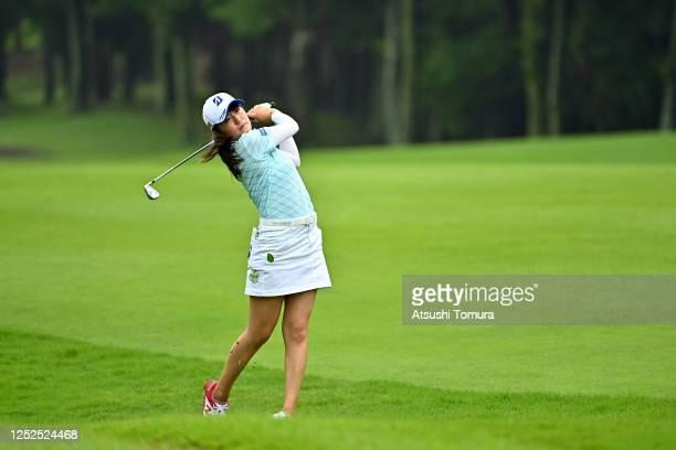 Mone Inami of Japan hits her second shot on the 3rd hole during the second round of the Earth Mondamin Cup at the Camellia Hills Country Club on June...
