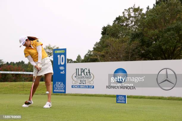 Mone Inami of Japan hits her tee shot on the 10th hole during the final round of the JLPGA Championship Konica Minolta Cup at Shizu Hills Country...