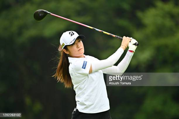 Mone Inami of Japan hits her tee shot on the 11th hole during the first round of the Earth Mondamin Cup at the Camellia Hills Country Club on June 25...