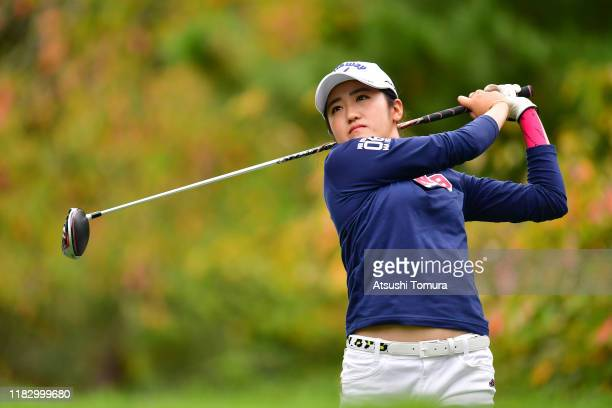 Mone Inami of Japan hits her tee shot on the 12th hole during the first round of the Nobuta Group Masters GC Ladies at Masters Golf Club on October...