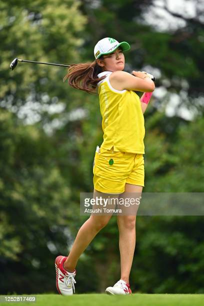 Mone Inami of Japan hits her tee shot on the 13th hole during the third round of the Earth Mondamin Cup at the Camellia Hills Country Club on June 27...