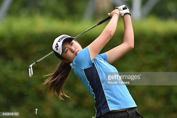 Mone Inami of Japan hits her tee shot on the 13th hole during the third round of 2016 TOYOTA Junior Golf World Cup at Ishino Course Chukyo Golf Club...