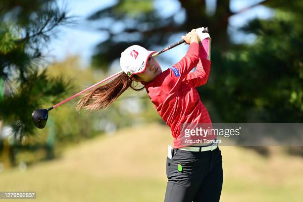 Mone Inami of Japan hits her tee shot on the 15th hole during the final round of the Stanley Ladies Golf Tournament at the Tomei Country Club on...