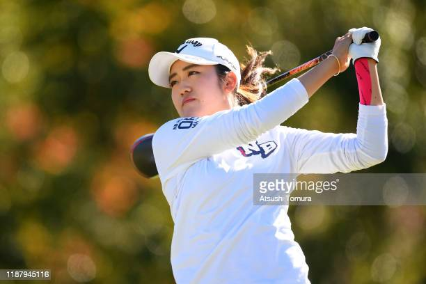 Mone Inami of Japan hits her tee shot on the 9th hole during the second round of the ItoEn Ladies at Great Island Club on November 16 2019 in Chonan...