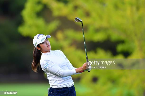 Mone Inami of Japan hits her third shot on the 12th hole during the second round of the Nobuta Group Masters GC Ladies at Masters Golf Club on...