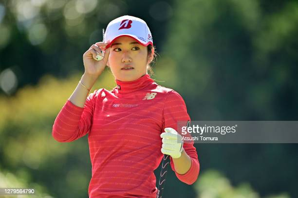 Mone Inami of Japan is seen on the 1st tee during the final round of the Stanley Ladies Golf Tournament at the Tomei Country Club on October 11 2020...