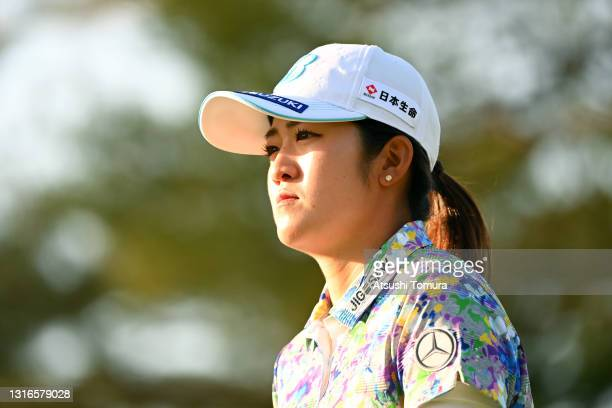 Mone Inami of Japan is seen on the 9th hole during the first round of the World Ladies Championship Salonpas Cup at the Ibaraki Golf Club on May 6,...