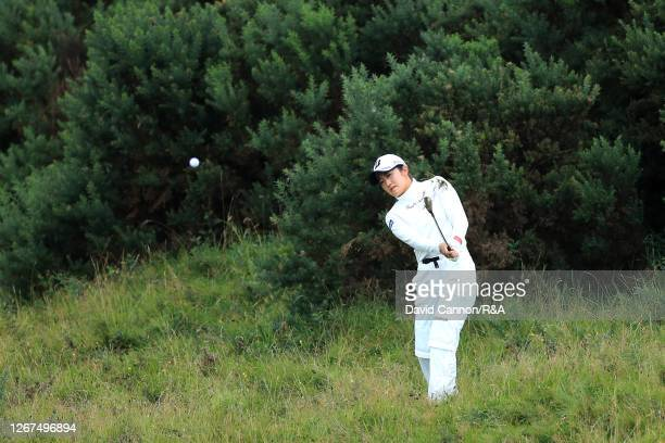 Mone Inami of Japan plays her second shot on the 10th during Day Two of the AIG Women's Open 2020 at Royal Troon on August 21 2020 in Troon Scotland