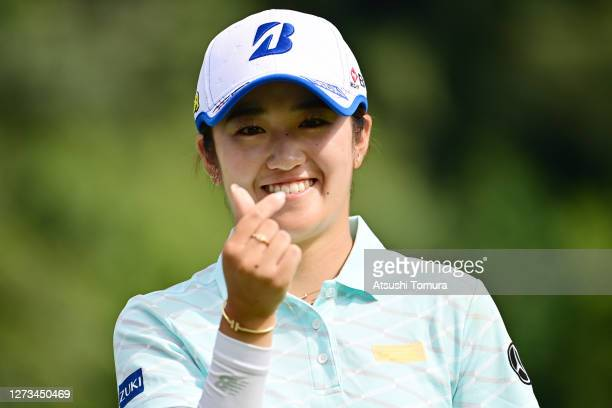 Mone Inami of Japan smiles during the second round of the Descente Ladies Tokai Classic at the Shin Minami Aichi Country Club Mihama Course on...