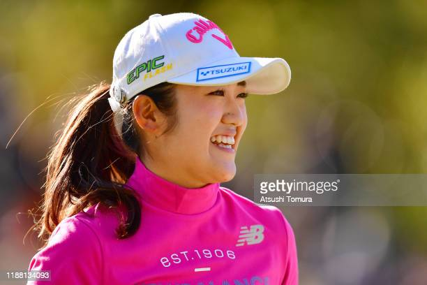 Mone Inami of Japan smiles on the 15th green during the final round of the ItoEn Ladies at Great Island Club on November 17 2019 in Chonan Chiba Japan