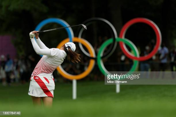 Mone Inami of Team Japan plays her shot from the 16th tee during the final round of the Women's Individual Stroke Play on day fifteen of the Tokyo...