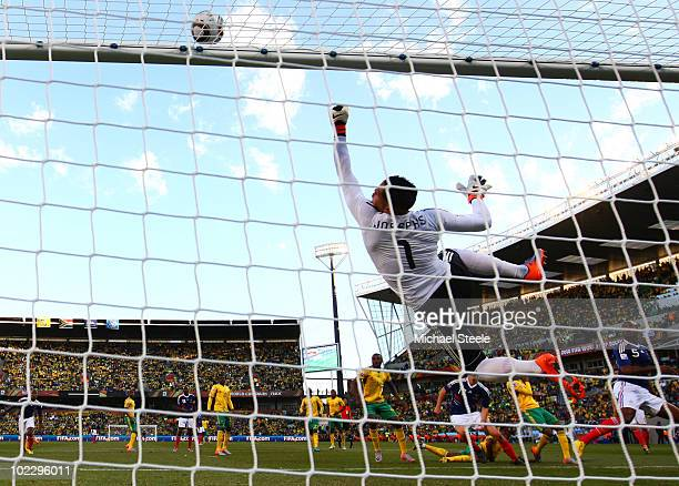 Moneeb Josephs of South Africa makes a save during the 2010 FIFA World Cup South Africa Group A match between France and South Africa at the Free...