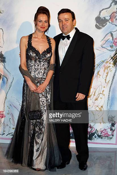 Monegasque politician and businessman Stephane Valeri and his wife pose prior to attend the Bal de la Rose du Rocher at the MonteCarlo Sporting Club...