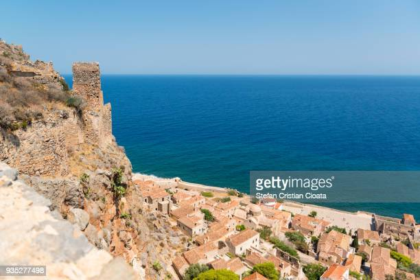 monemvasia fortress and town greece - peloponnese stock photos and pictures