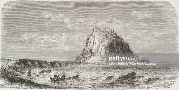 Monemvasia or Malvasia island, Greece, drawing by Etienne Ronjat from a photograph, Voyage in Greece, 1861-1868-1874, by Henri Belle, from Il Giro...