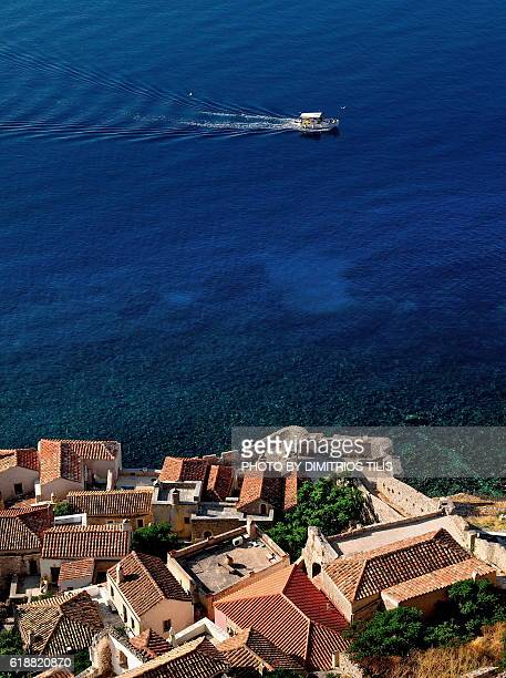 monemvasia view from the castle 5 - peloponnese stock photos and pictures