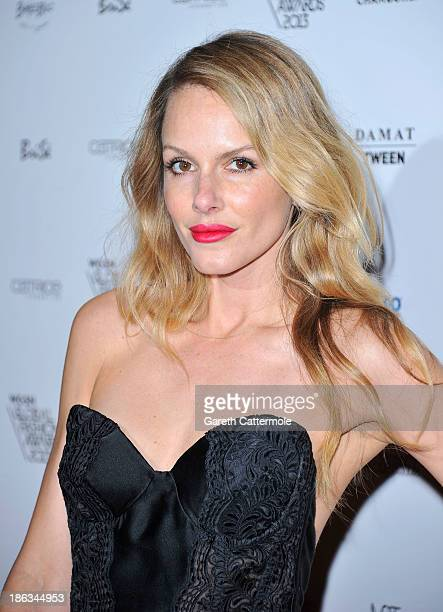 Monet Mazur attends the WGSN Global Fahsion awards at Victoria Albert Museum on October 30 2013 in London England
