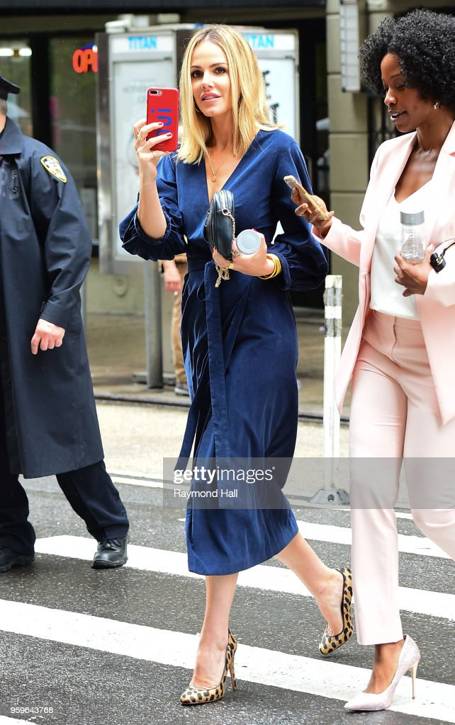 Monet Mazur is seen walking in midtown on May 17, 2018 in New York City.