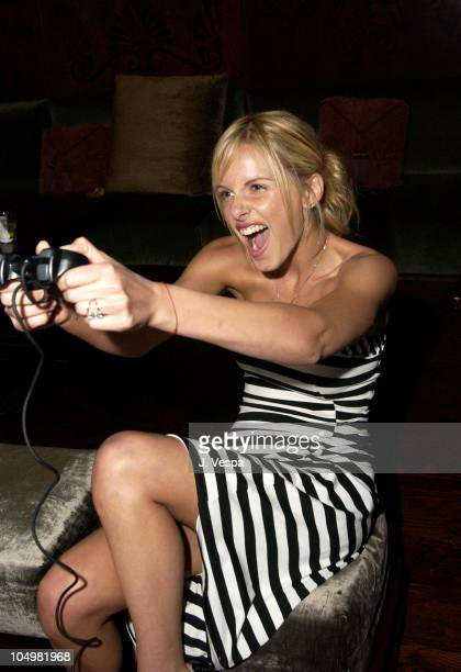 Monet Mazur playing PlayStation2 during PlayStation 2's After Party for Movieline's 4th Annual Young Hollywood Awards at The Highlands in Hollywood...