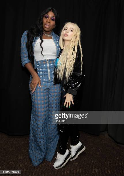 Monet X Change and Ava Max pose backstage at GAY Heaven on March 09 2019 in London England