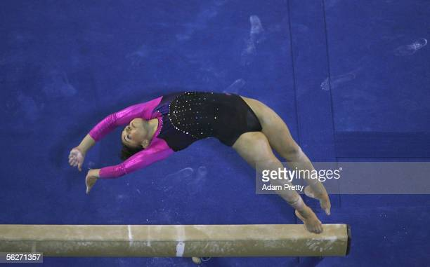 Monette Russo of Australia in action on the Beam during the Womens Individual AllAround Final of the 2005 World Gymnastics Championship at Rod Laver...