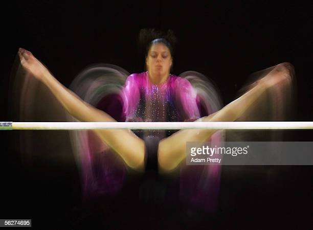 Monette Russo of Australia in action on the Uneven Bars during the Apparatus Finals of the 2005 World Gymnastics Championships at Rod Laver Arena...