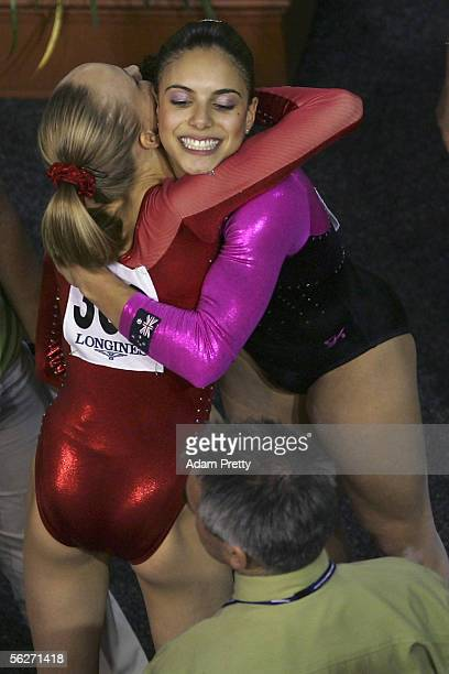 Monette Russo of Australia is congratulated by Anastasia Liukin of USA Silver after the Womens Individual AllAround Final of the 2005 World...