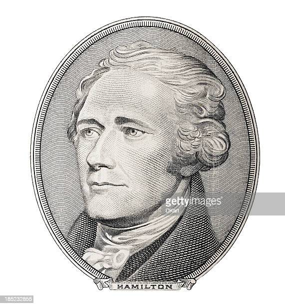 money. alexander hamilton portrait - alexander hamilton stock photos and pictures