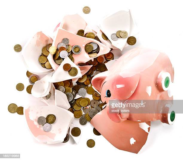 money and broken piggy-bank