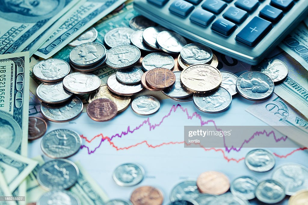Money and graphics : Stock Photo