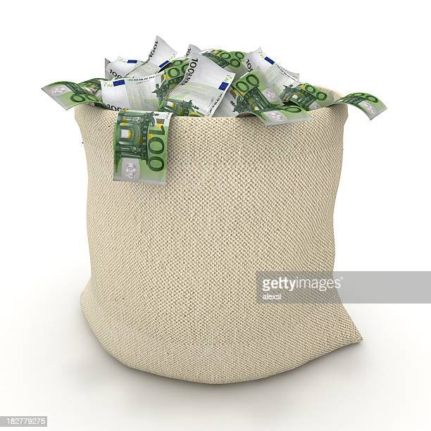 money bag - euro - euro symbol stock photos and pictures