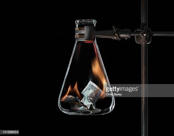 Money burning in beaker