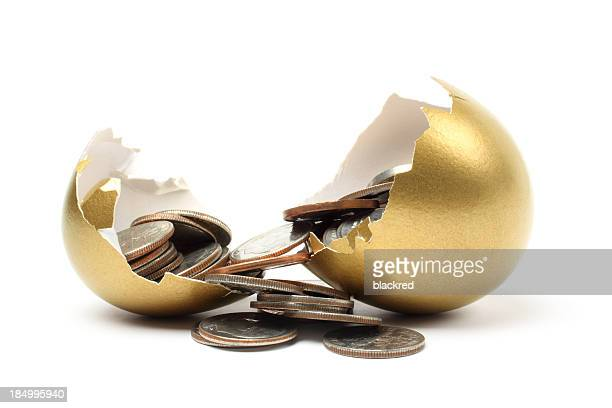Money Came out from a Gold Egg on White Background