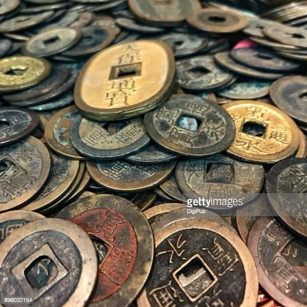 money: copper coins of edo period - edo period ストックフォトと画像